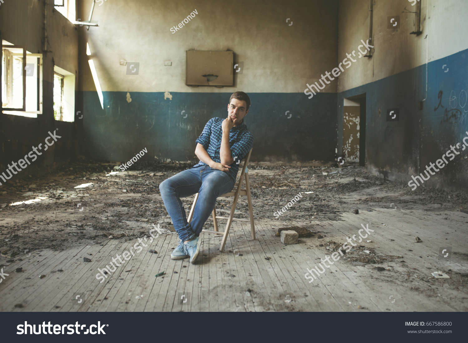 Young Guy Abandoned Building Tourist Walks Stock Photo Edit Now 667586800