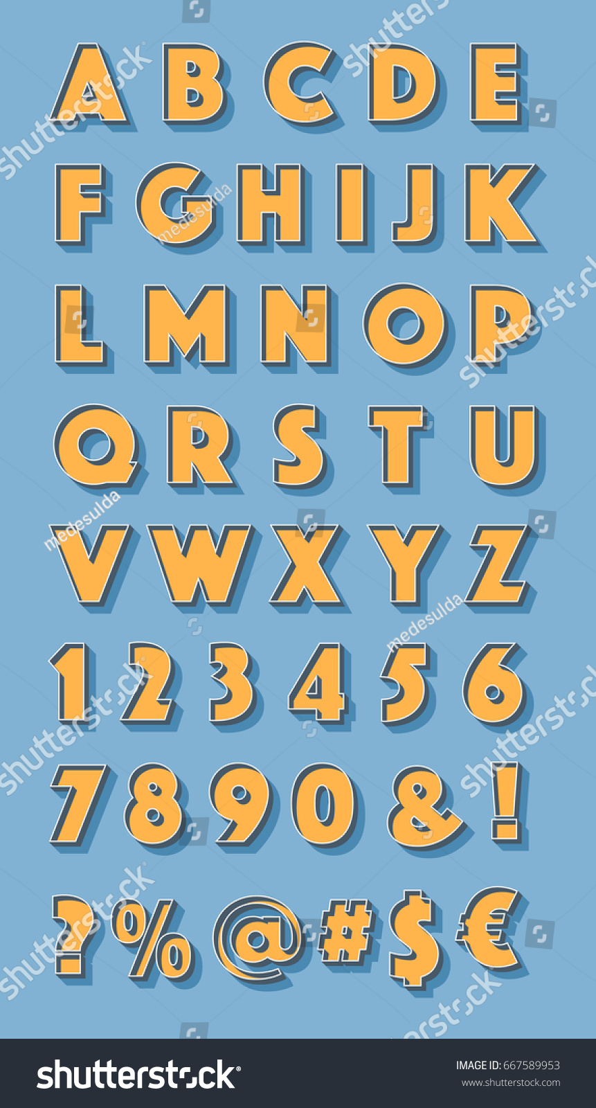 Retro Styled Alphabet Numbers Orthographic Symbols Stock Vector ...