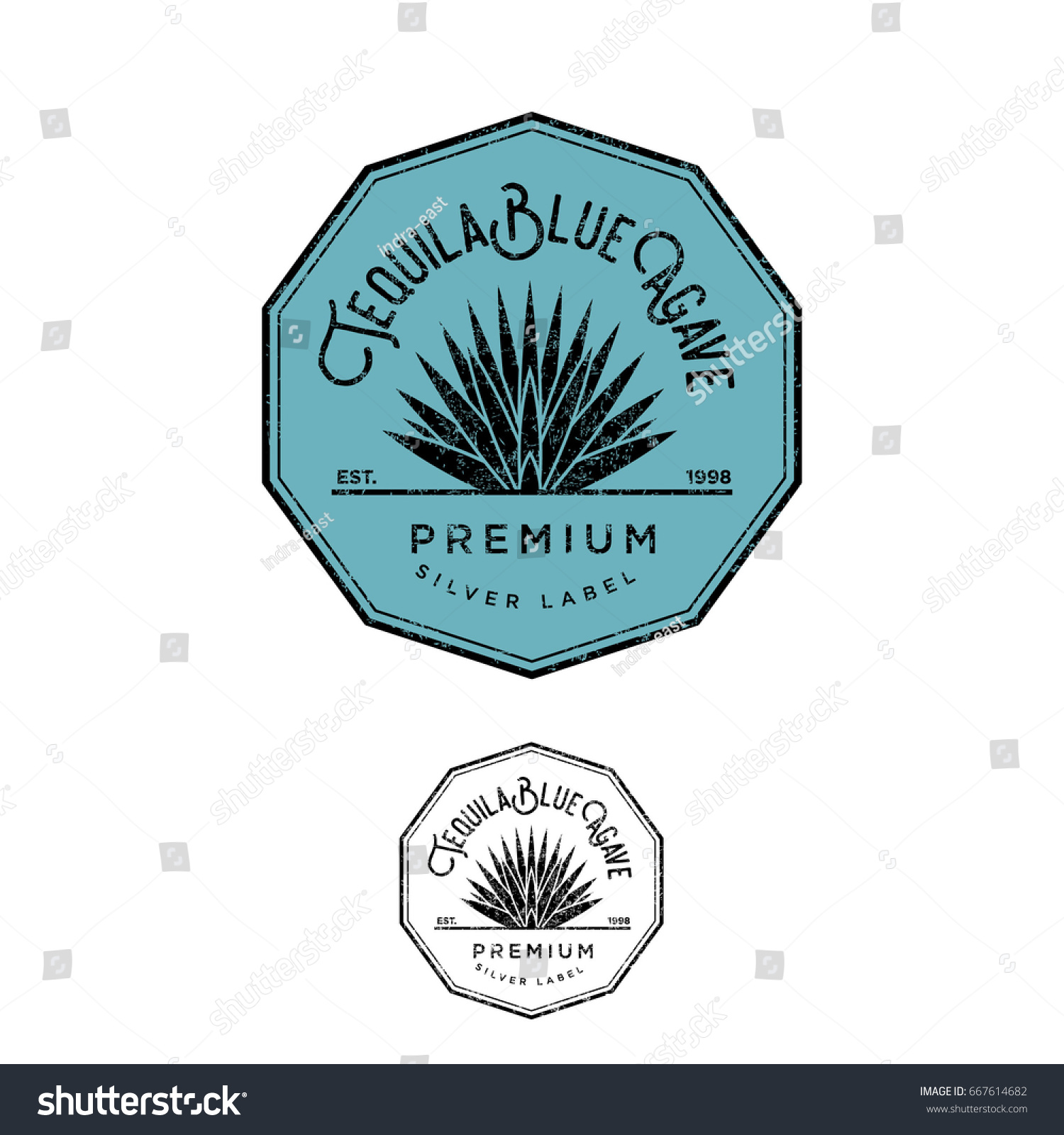 Tequila Logo Silver Tequila Label Blue Stock Vector Royalty Free