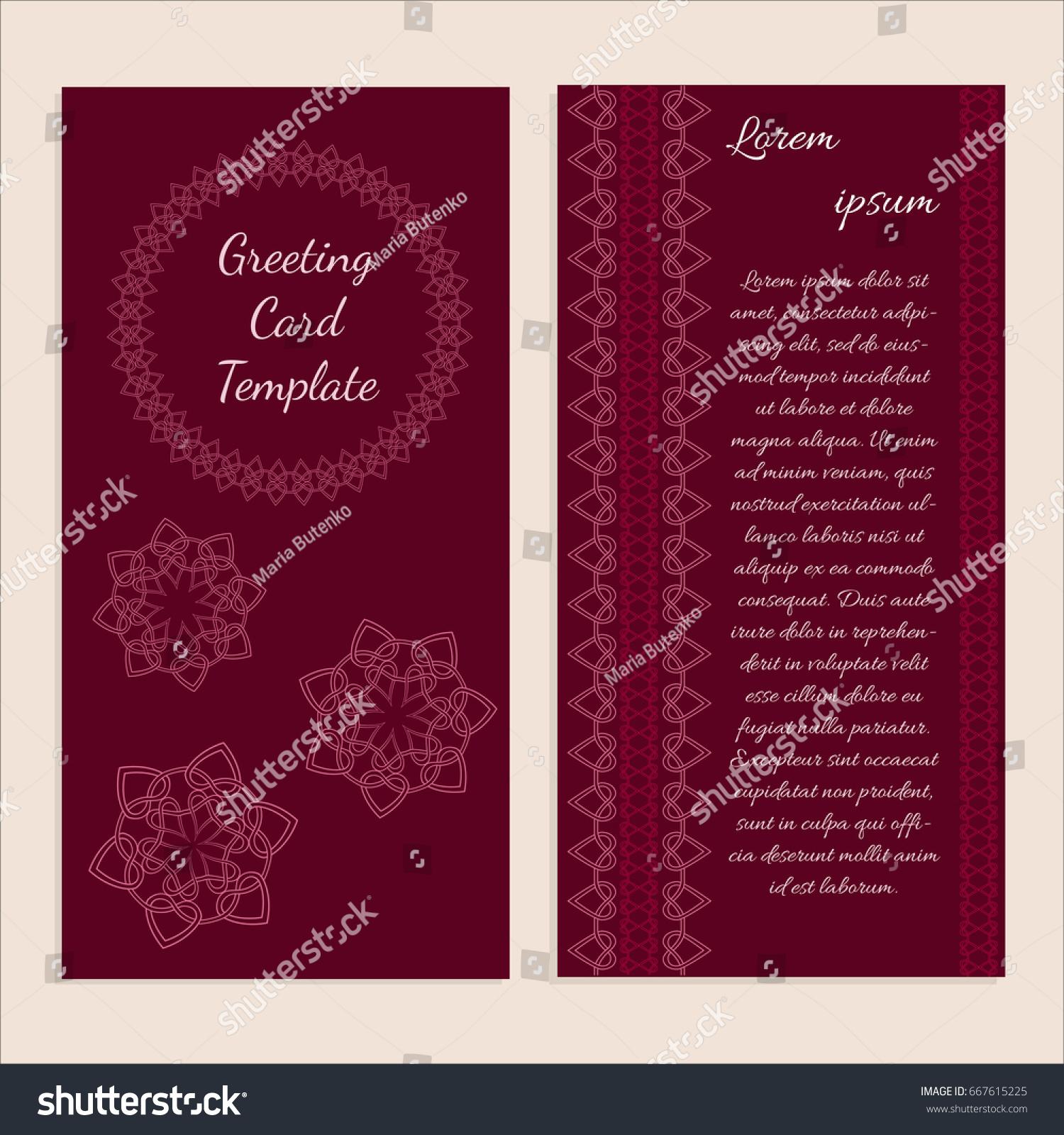 Templates Greeting Wedding Invitation Cards Brochures Stock Vector ...