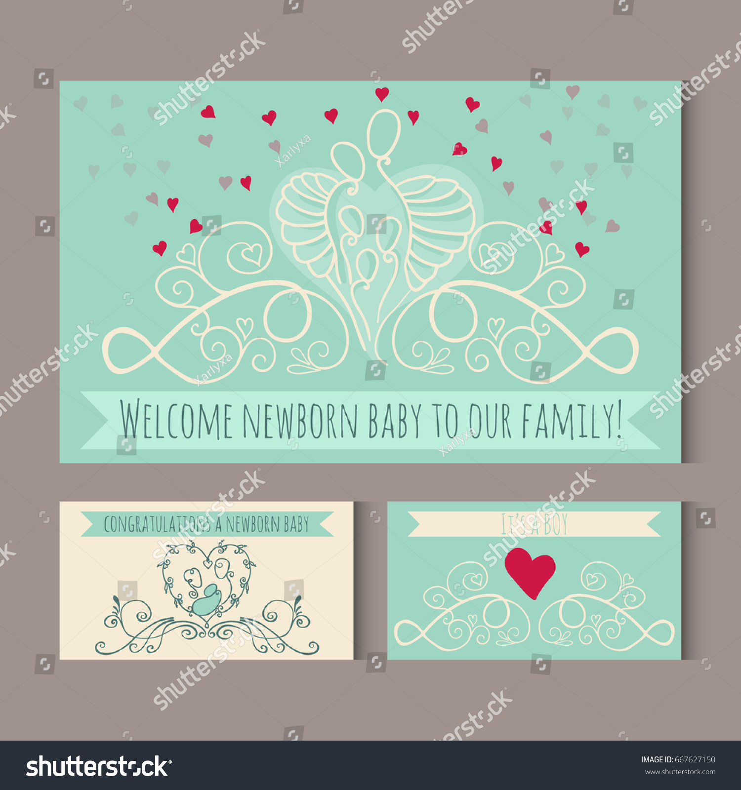 Greeting Cards Symbols Happy Family Welcome Stock Vector Royalty