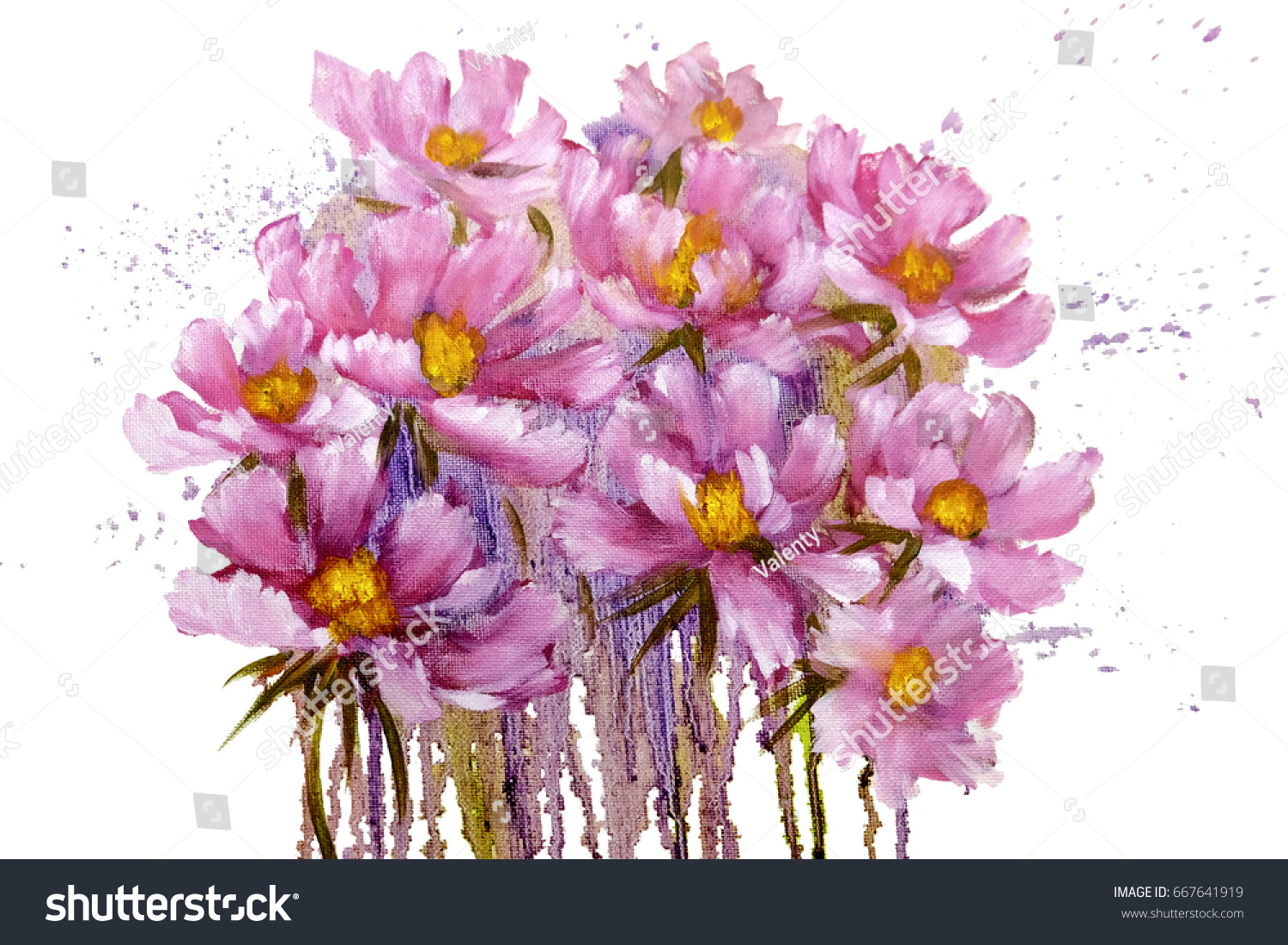 Bouquet Pink Cosmos Flowers Paint Drips Stock Illustration 667641919 ...