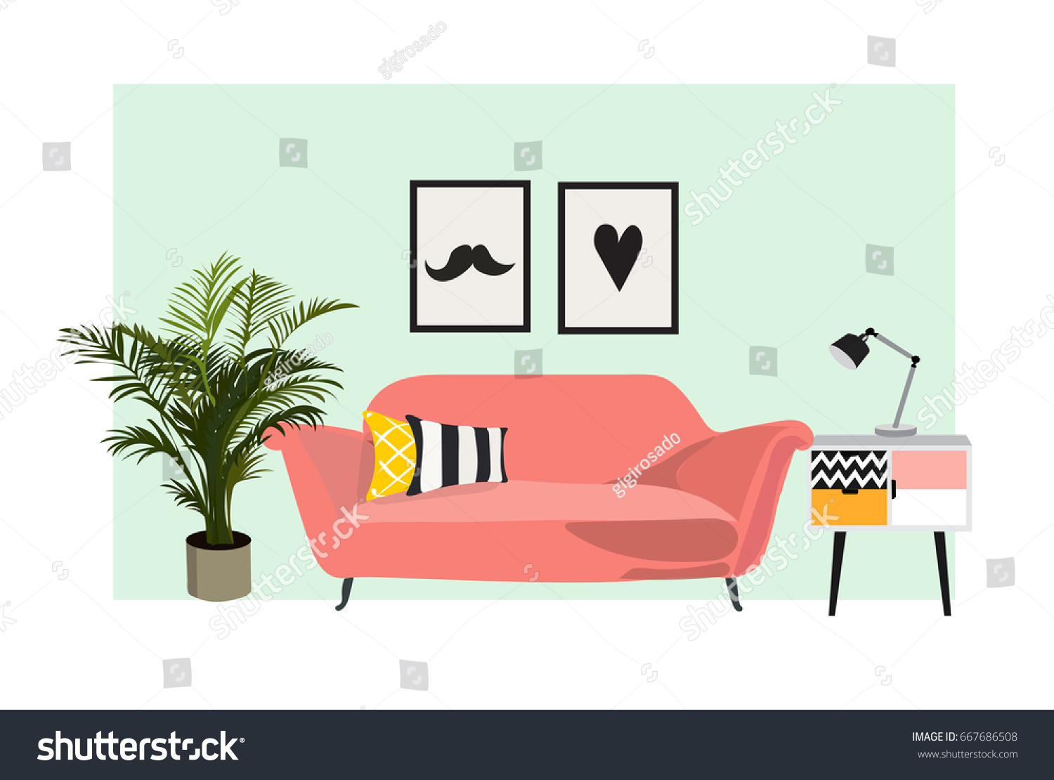 interior design vector illustration modern living stock