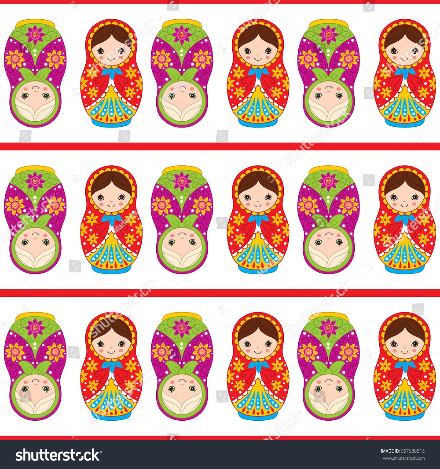 vector seamless pattern cute matryoshka traditional stock vector