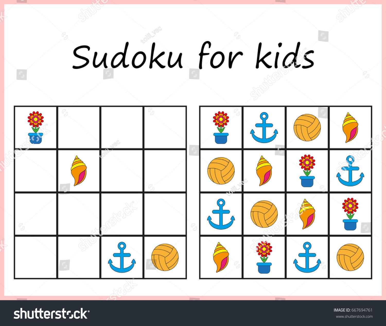 Sudoku Kids Game Preschool Kids Training Vector 667694761 – Sudoku Worksheet