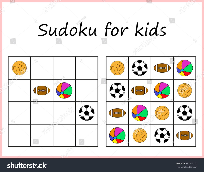 Sudoku Kids Game Preschool Kids Training Vector 667694770 – Sudoku Worksheet