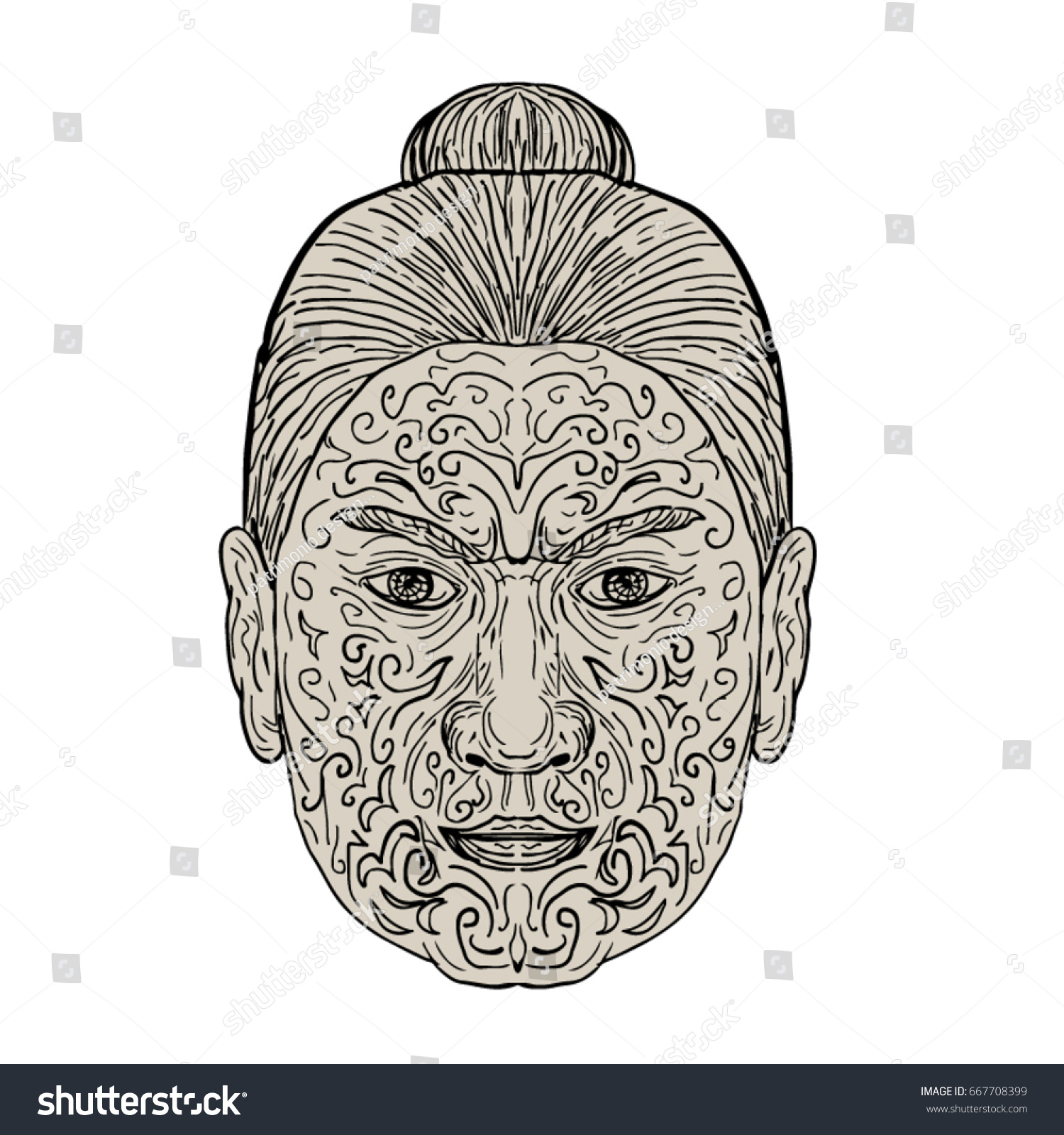 Illustration Of A Maori Face With Moko Facial Tattoo Done In Drawing Sketch  Style