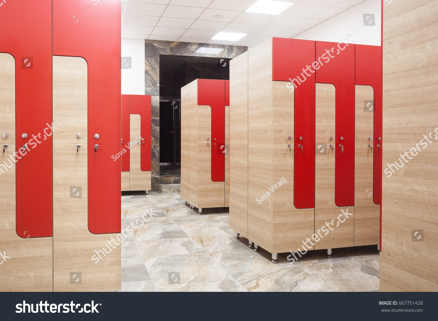 Magnificent Red Wooden Sports Wardrobe Gym Clothes Stock Photo Edit Now Machost Co Dining Chair Design Ideas Machostcouk