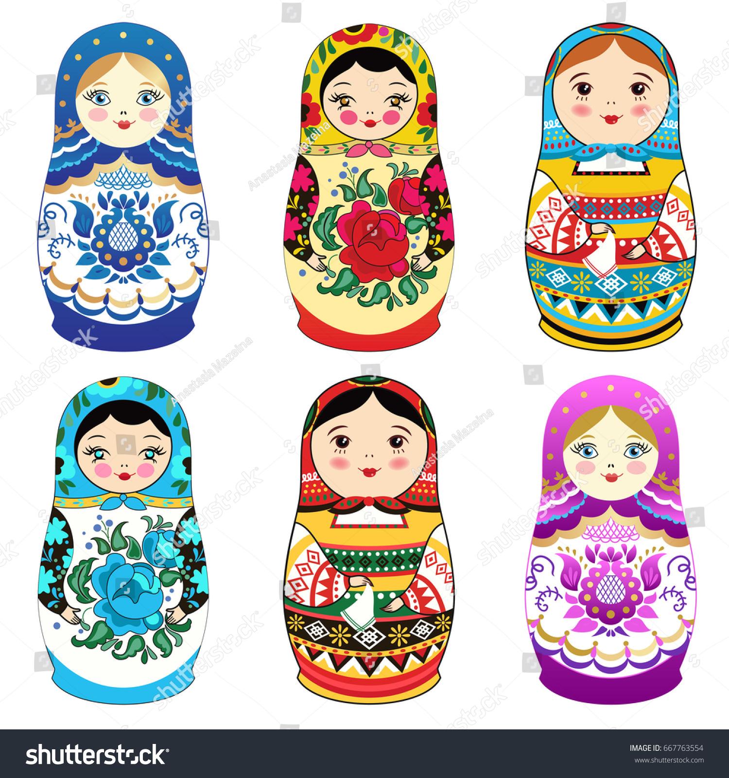 russian doll matrioshka smiling face pink stock vector 667763554