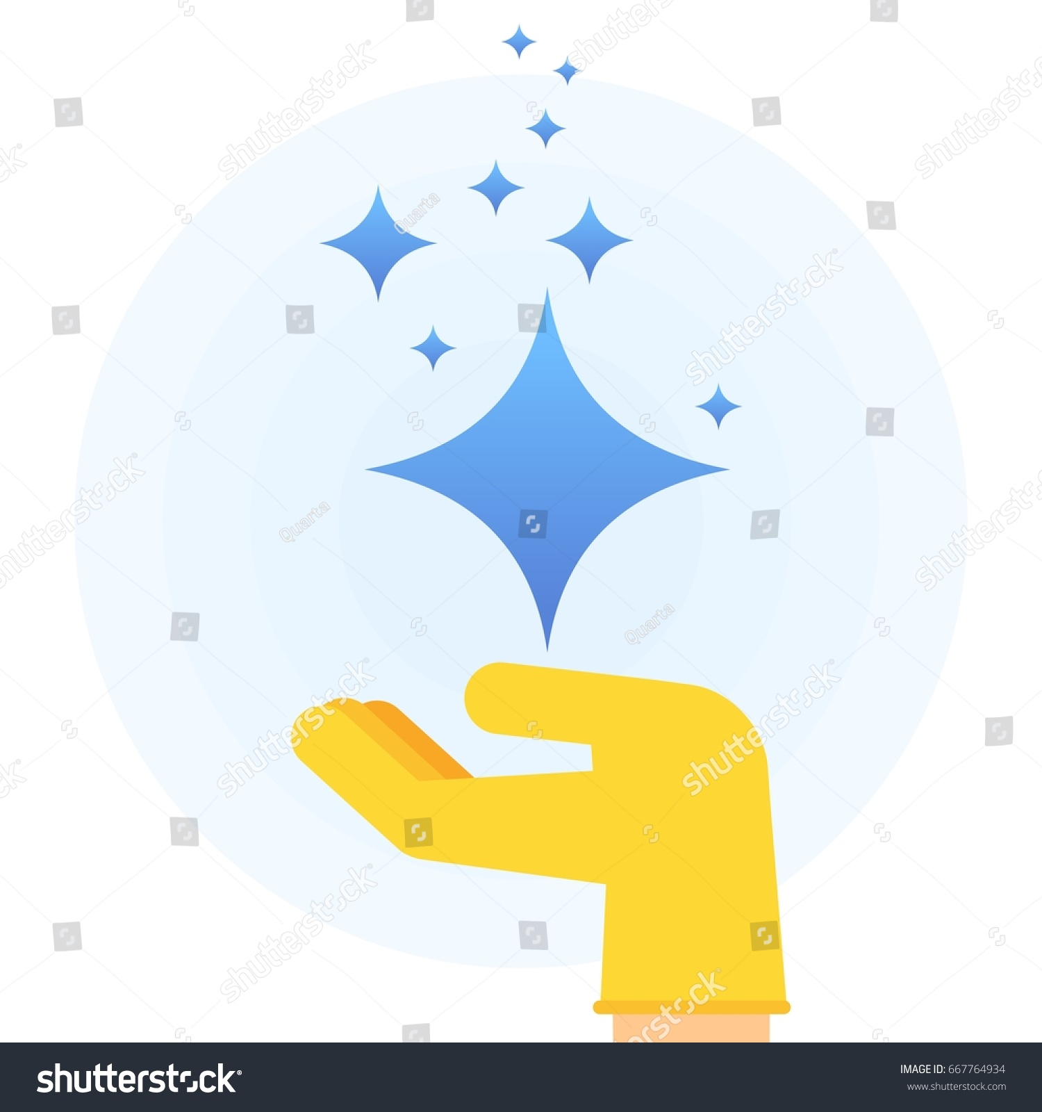 Hand rubber glove holding stars brilliance stock vector - Sparkle and shine cartoon ...