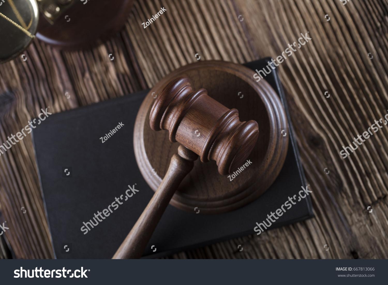 Criminal Justice Law Symbols Gavel Scales Stock Photo (Edit