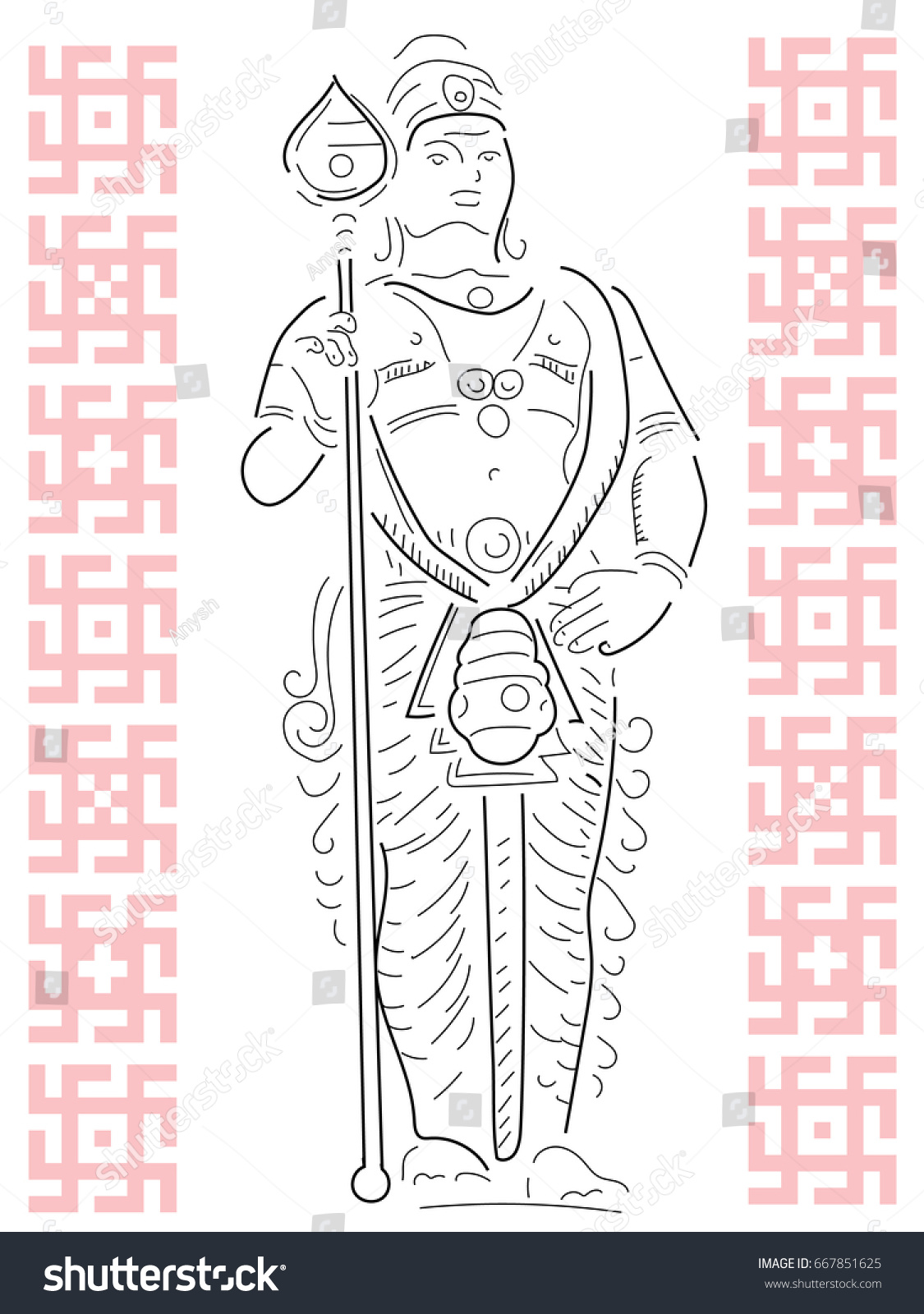 Statue of the indian god pencil drawing traditional malaysian ornament the inscription is