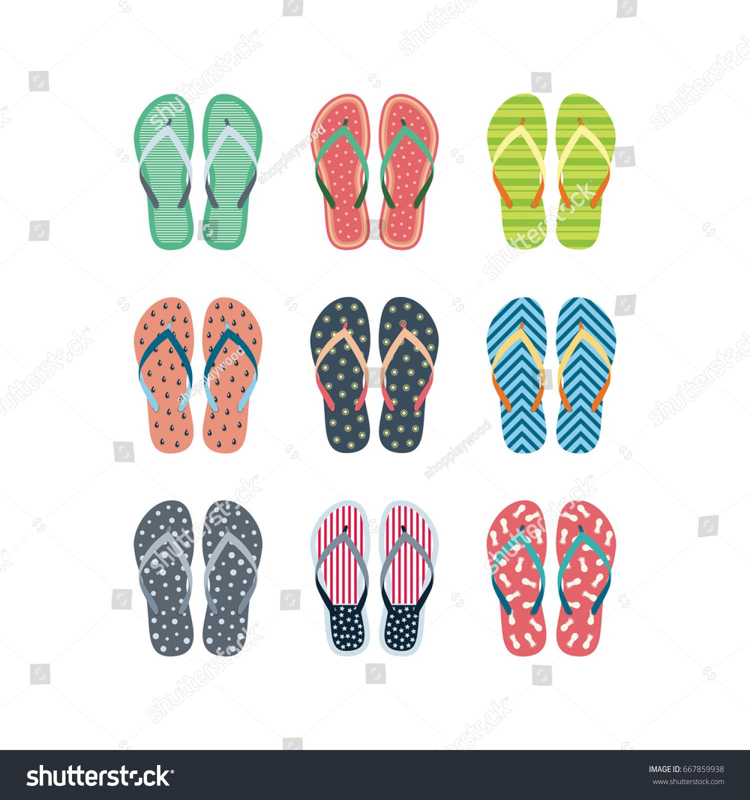 Summer Flip Flops Set Isolated On Vectores En Stock 667859938 ...