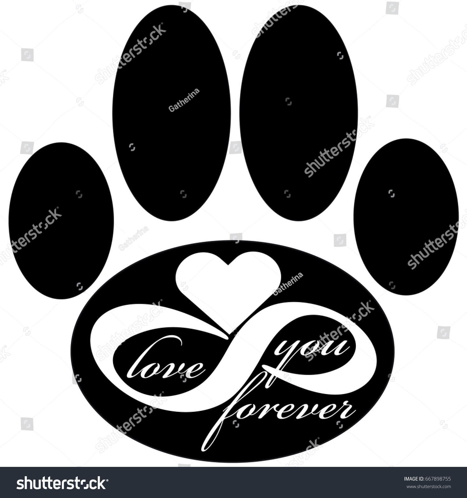 Forever love icon dog paw isolated stock vector 667898755 forever love icon with dog paw isolated on white background vector illustration biocorpaavc