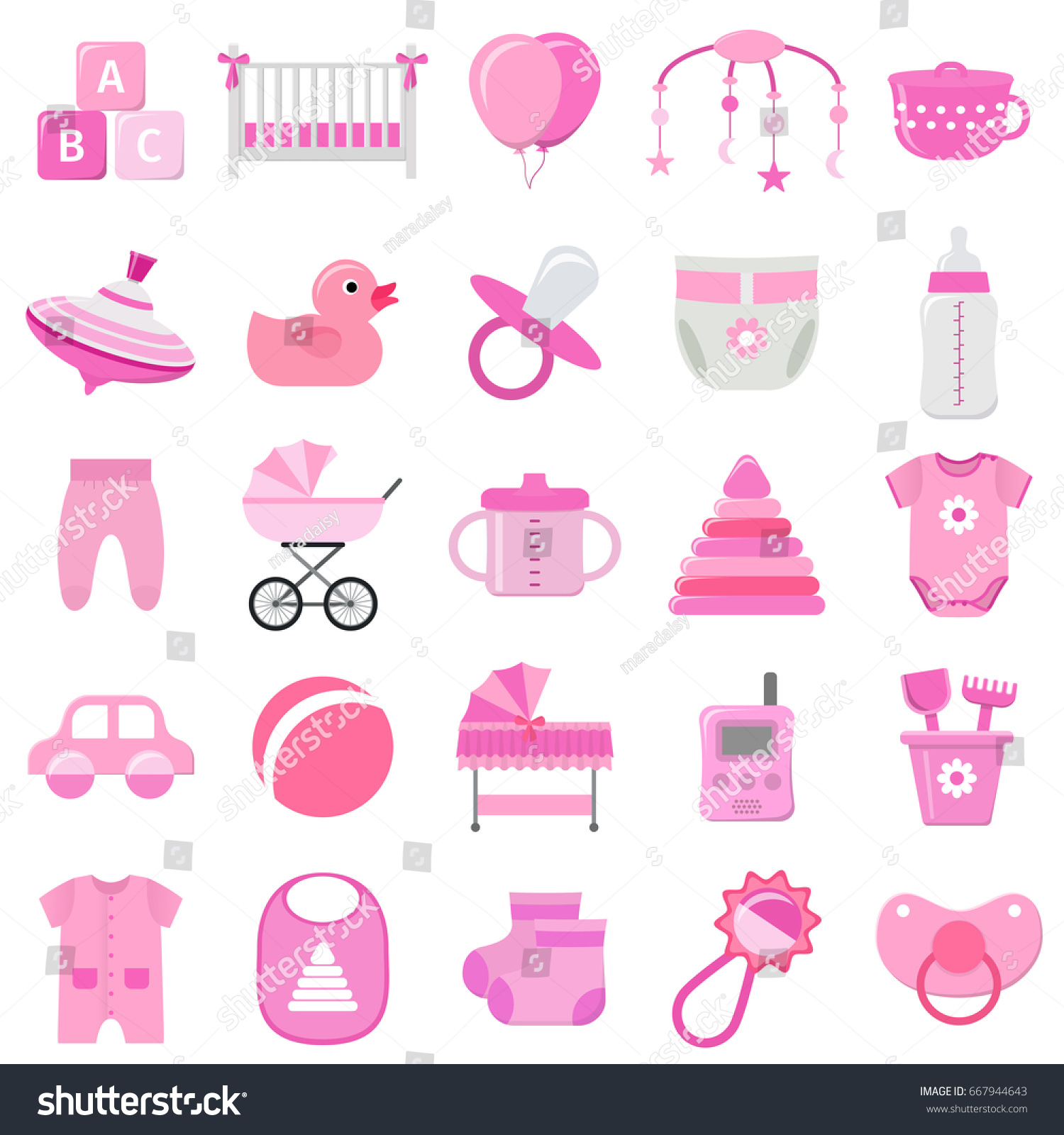 Baby girl icons set vector baby stock vector 667944643 shutterstock baby girl icons set vector baby shower pink symbols isolated on white background buycottarizona Gallery
