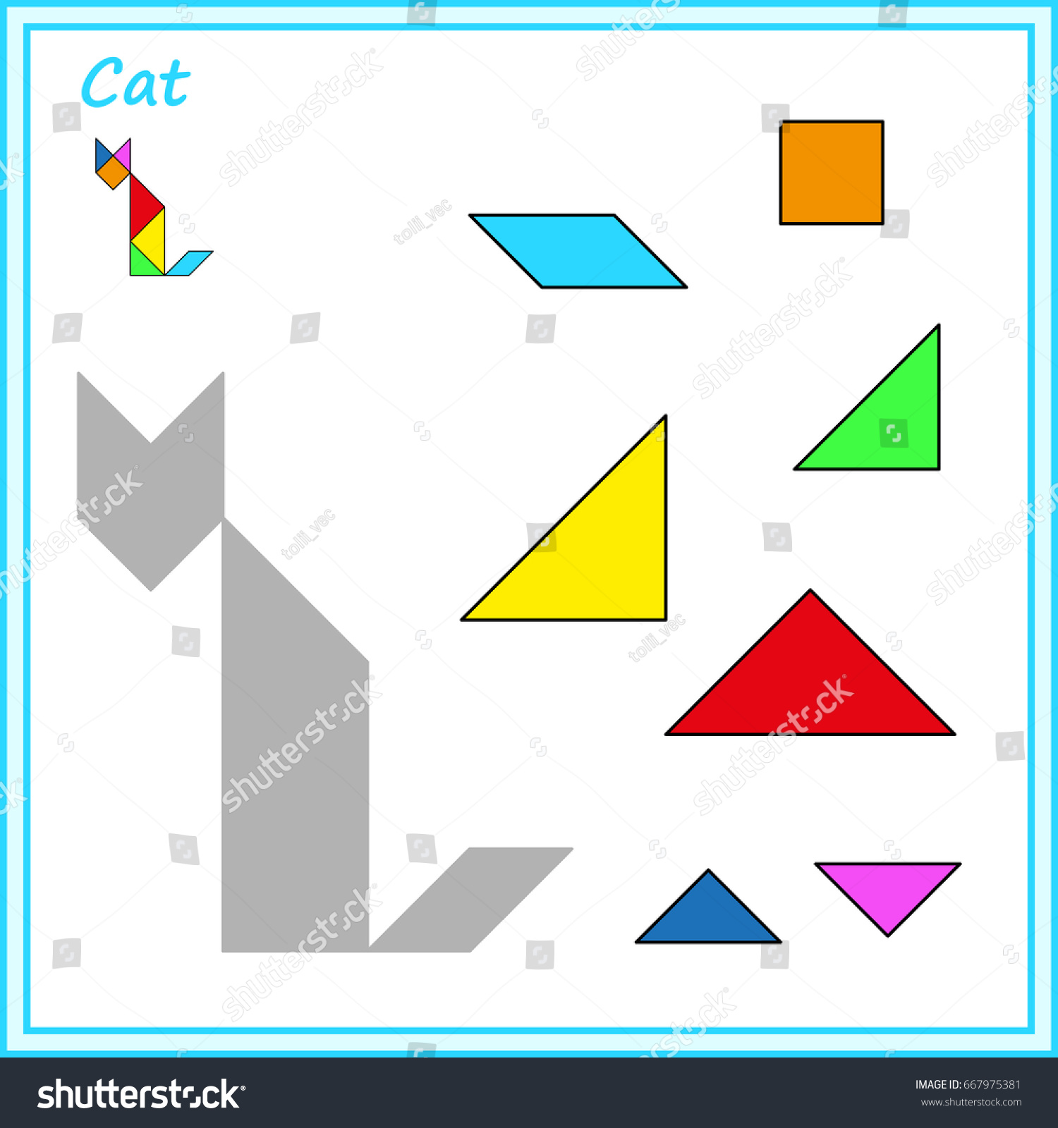 worksheet Tangram Worksheet chinese puzzle tangram cut glue vector stock hd royalty free and game for children worksheet for