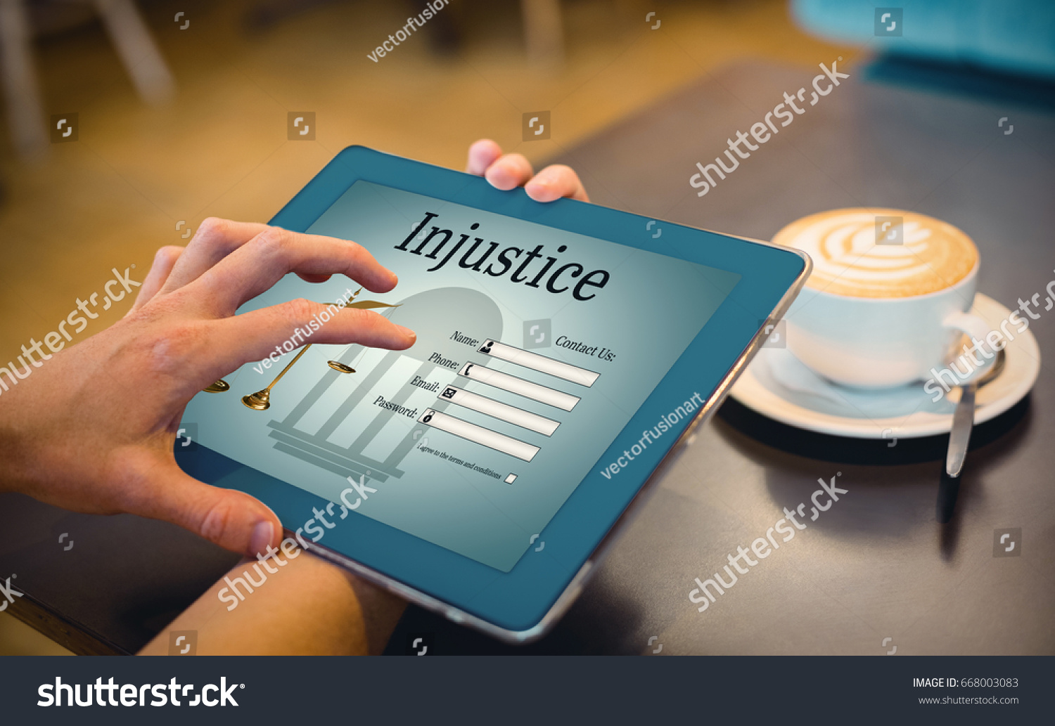 Graphic interface lawyer contact form against stock photo graphic interface of lawyer contact form against close up of digital tablet and coffee on geotapseo Gallery