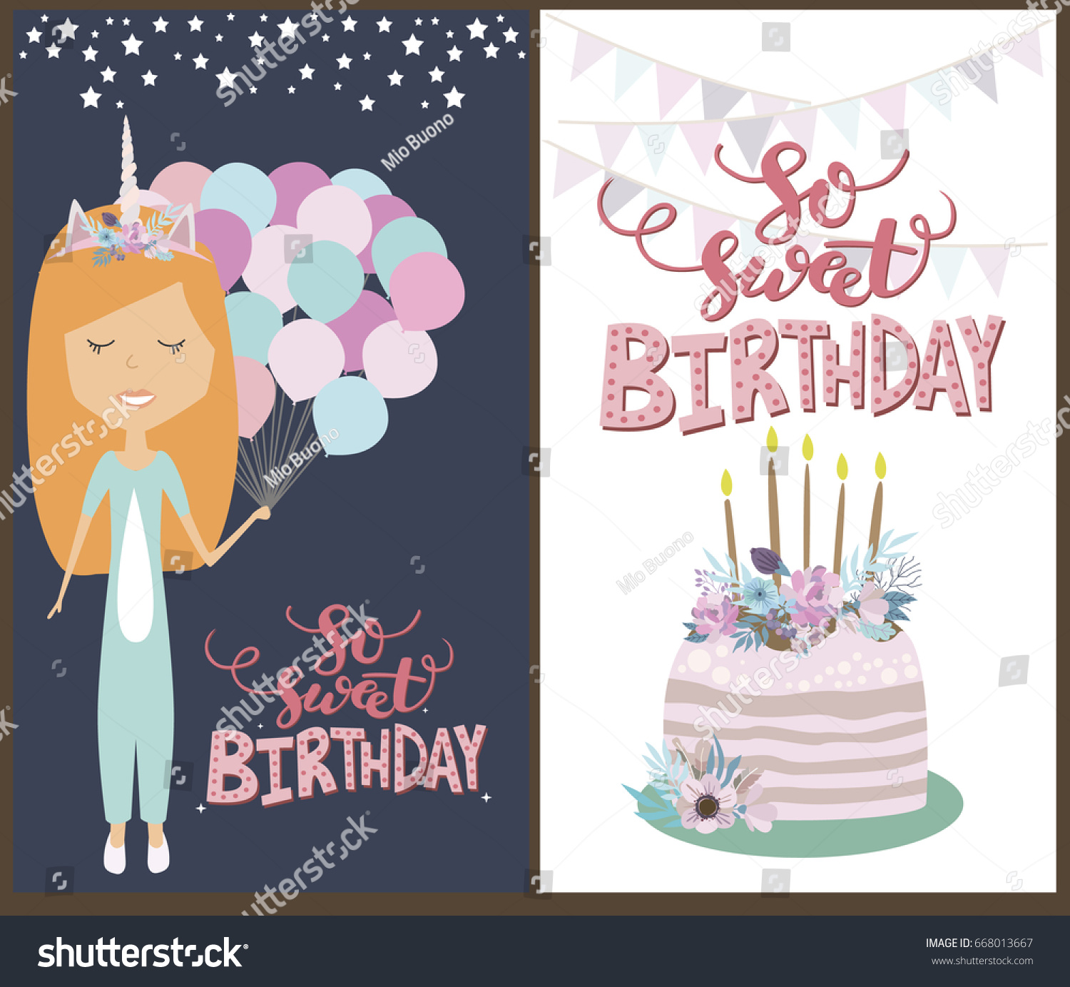 Sweet Birthday Greeting Invitation Cards Girl Stock Vector Royalty