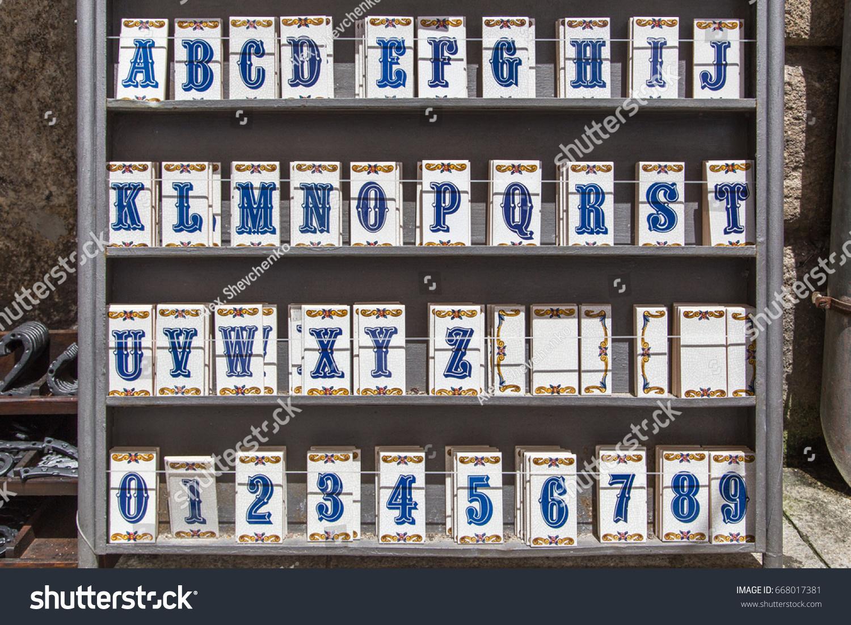Selection Portuguese Ceramic Tiles Alphabet Digits Stock Photo Edit