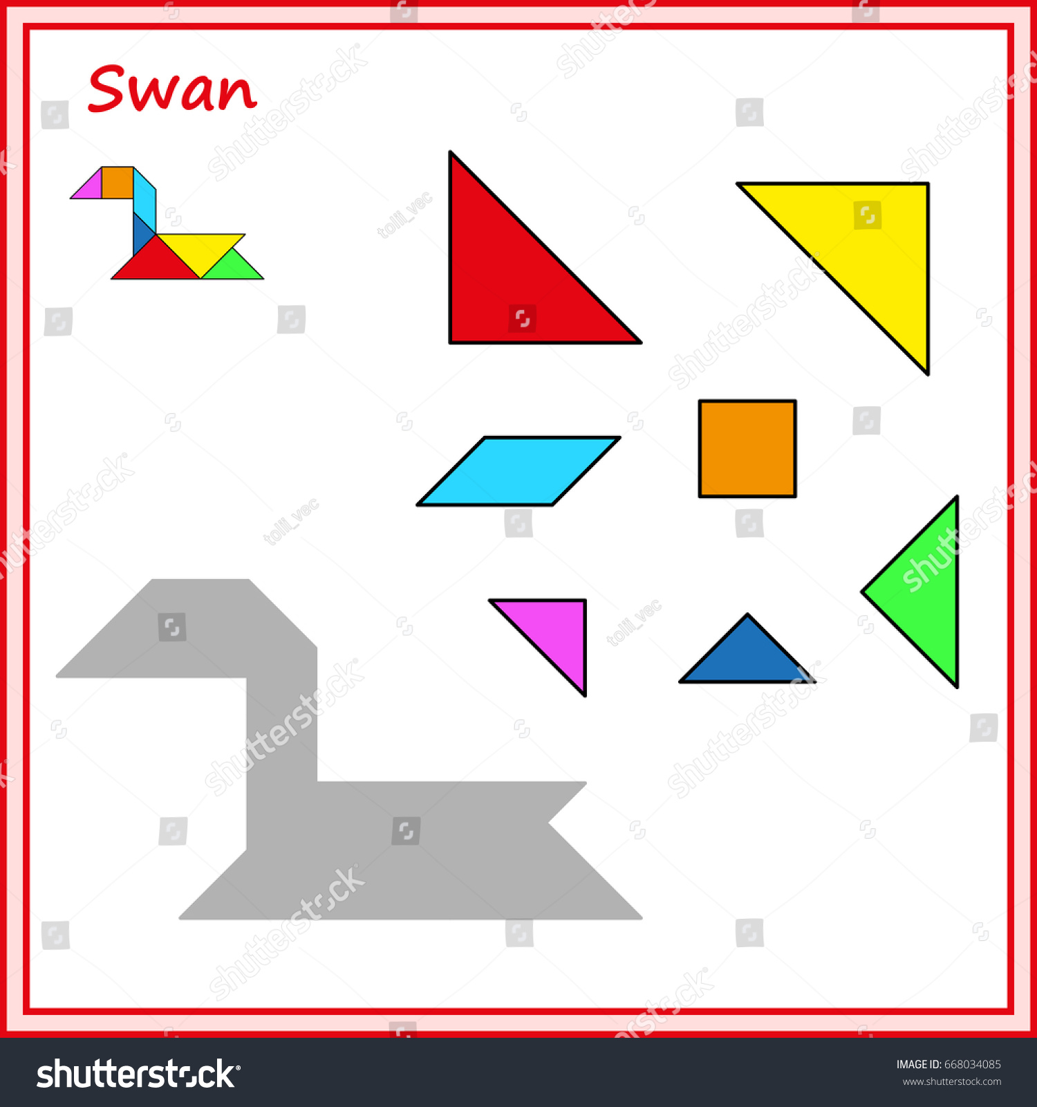 worksheet Tangram Worksheet chinese puzzle tangram cut glue vector stock 668034085 and game for children worksheet for