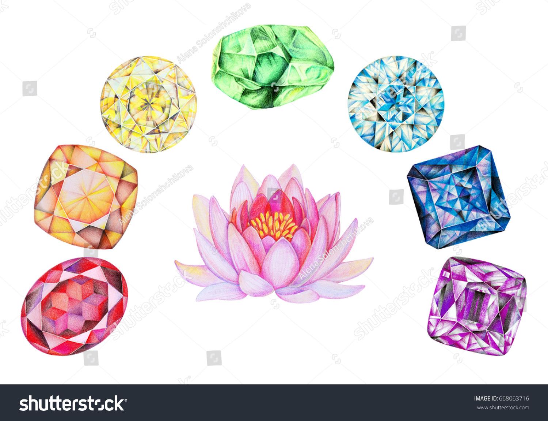 Rainbow Chakra Stones Set Pink Lotus Stock Illustration Royalty