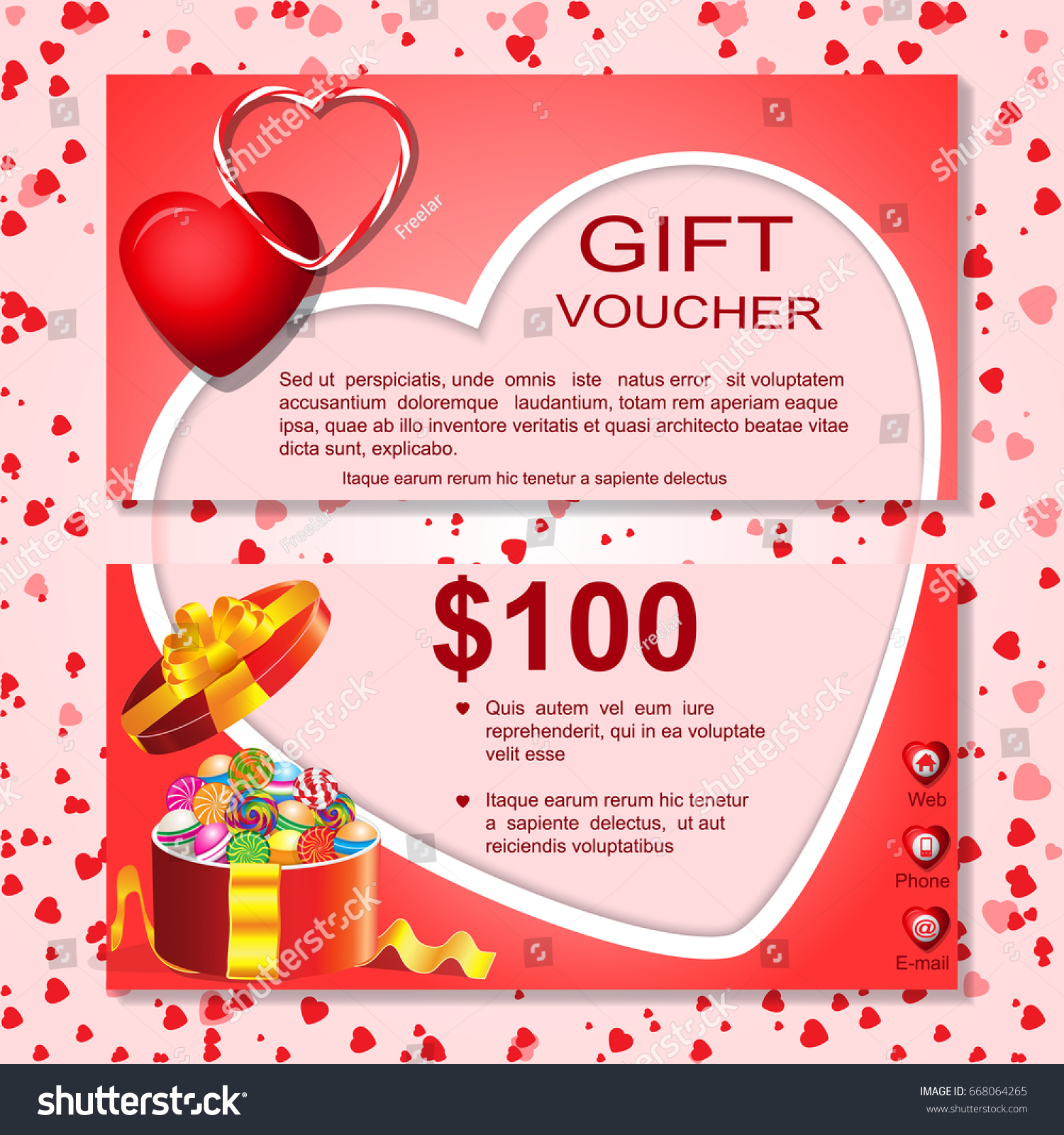 Gift cardvoucher template heart patternborderbowribbonsdesign gift gift cardvoucher template with heart patternborderbowribbonssign 1betcityfo Image collections