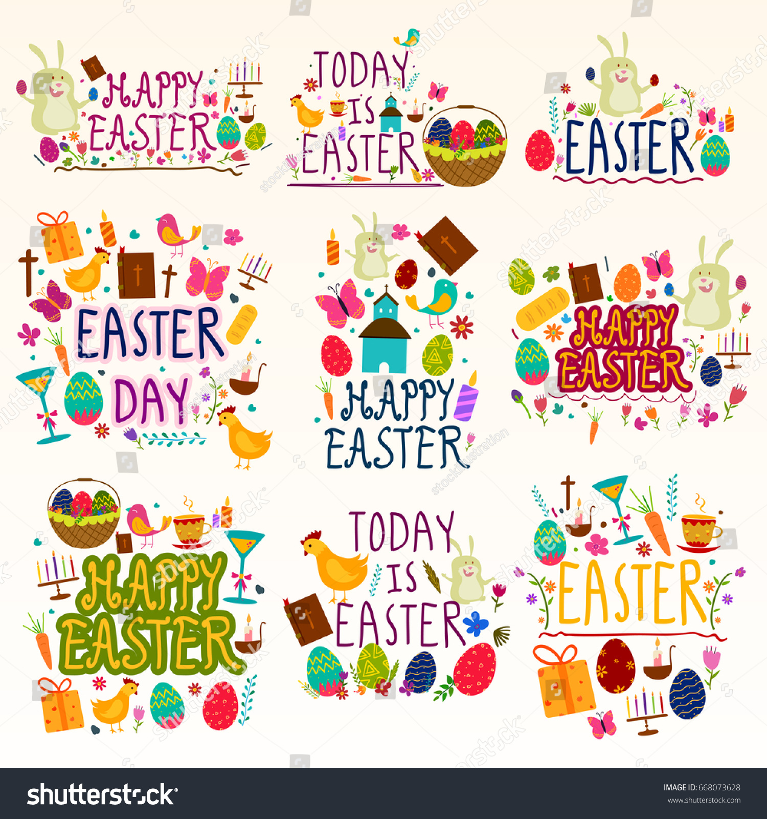 Happy Easter Holiday Festival Wishing Greetings Stock Vector