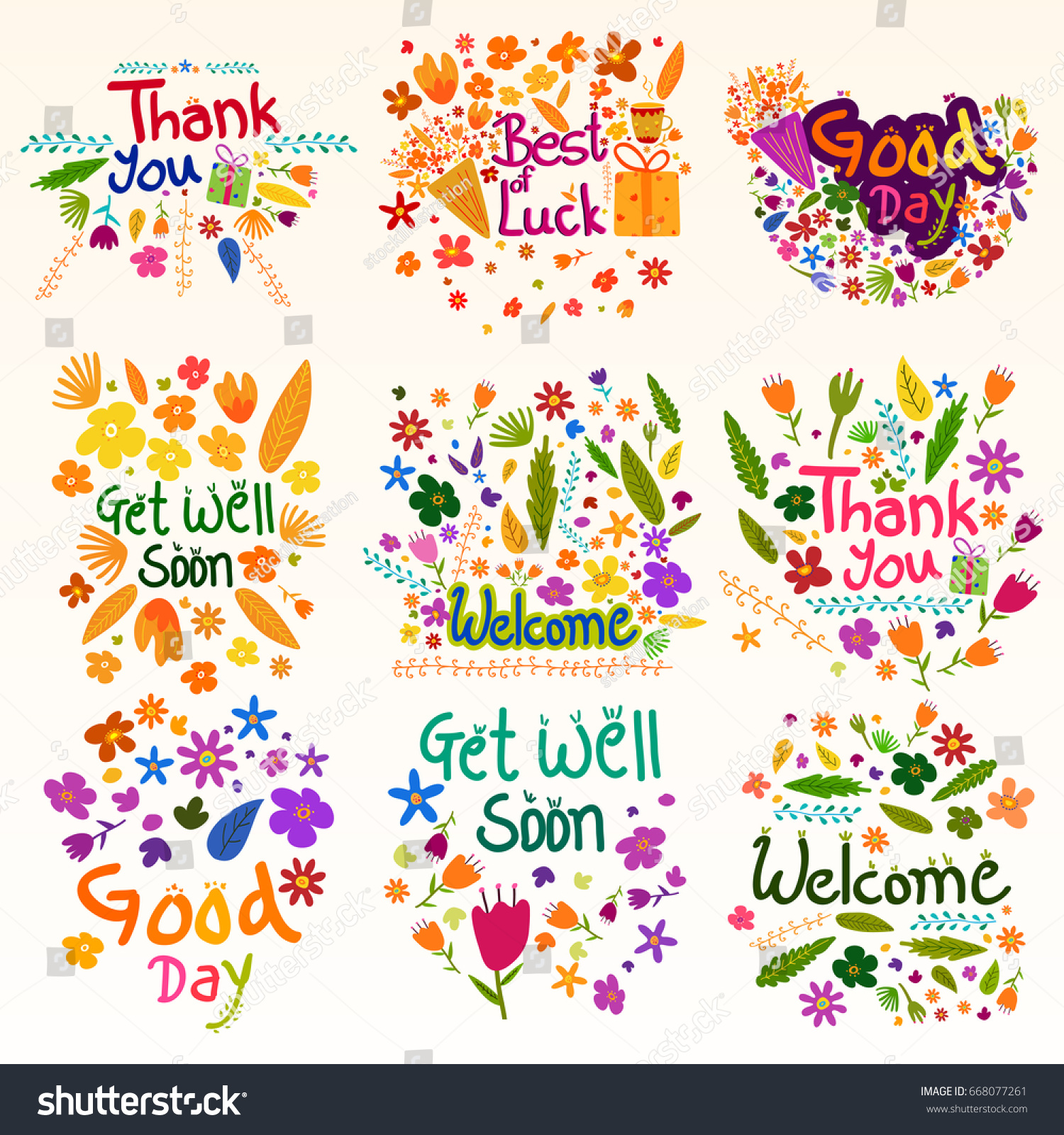 Wishing Greetings Thank You Best Luck Stock Vector 668077261