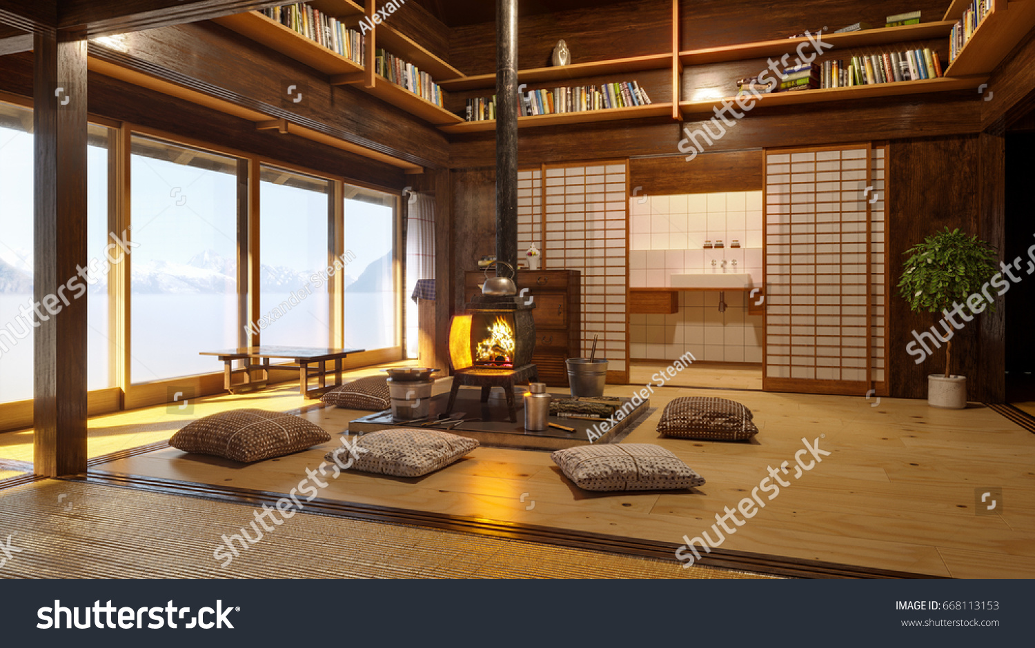 Japanese Interior Modern Japan Interior Design Stockillustration ...
