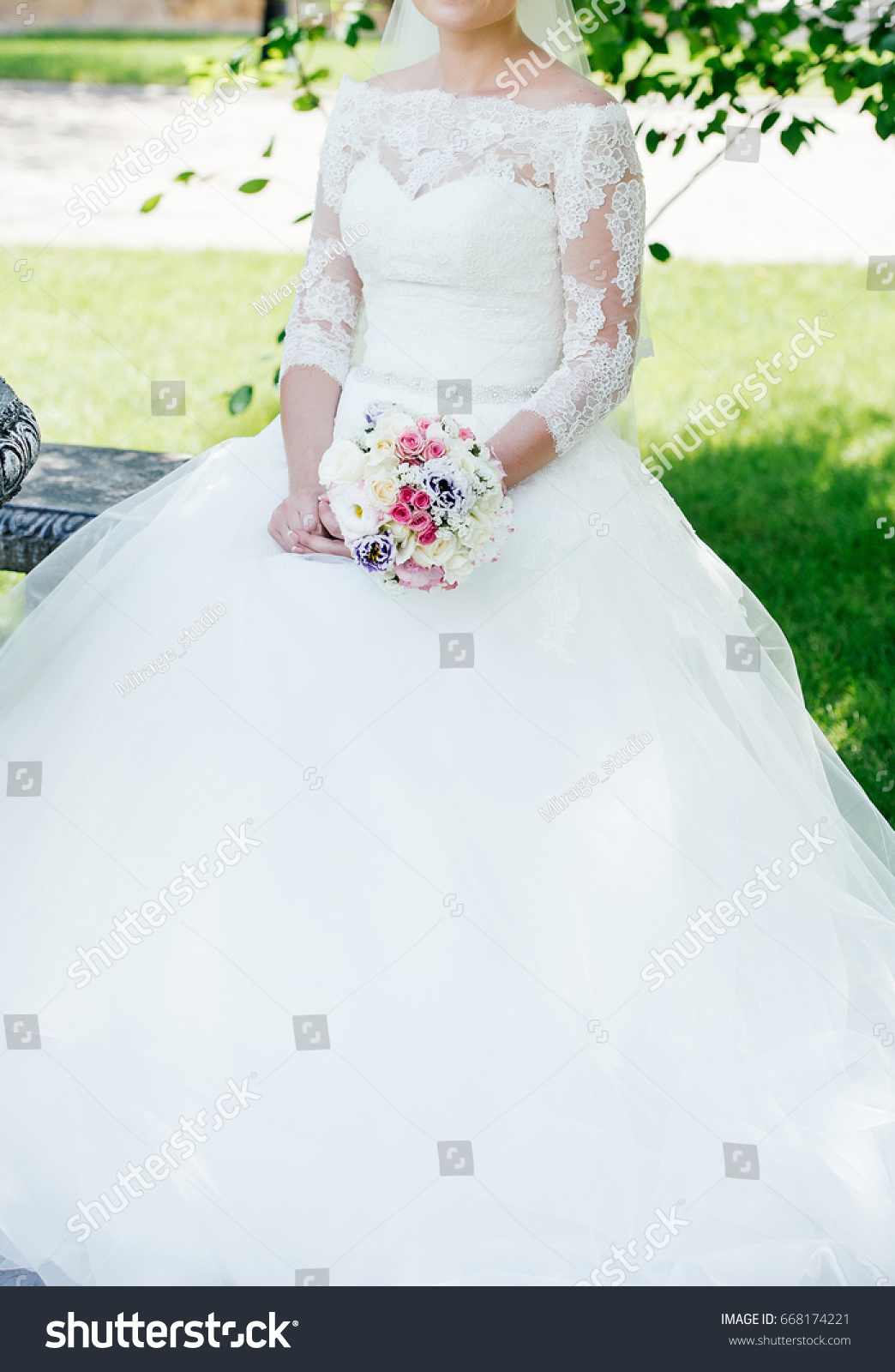 Beautiful Bride White Lace Wedding Dress Stock Photo Edit Now