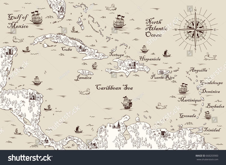 Old Map Caribbean Sea Vector Illustration Stock Vector - Caribbean sea map