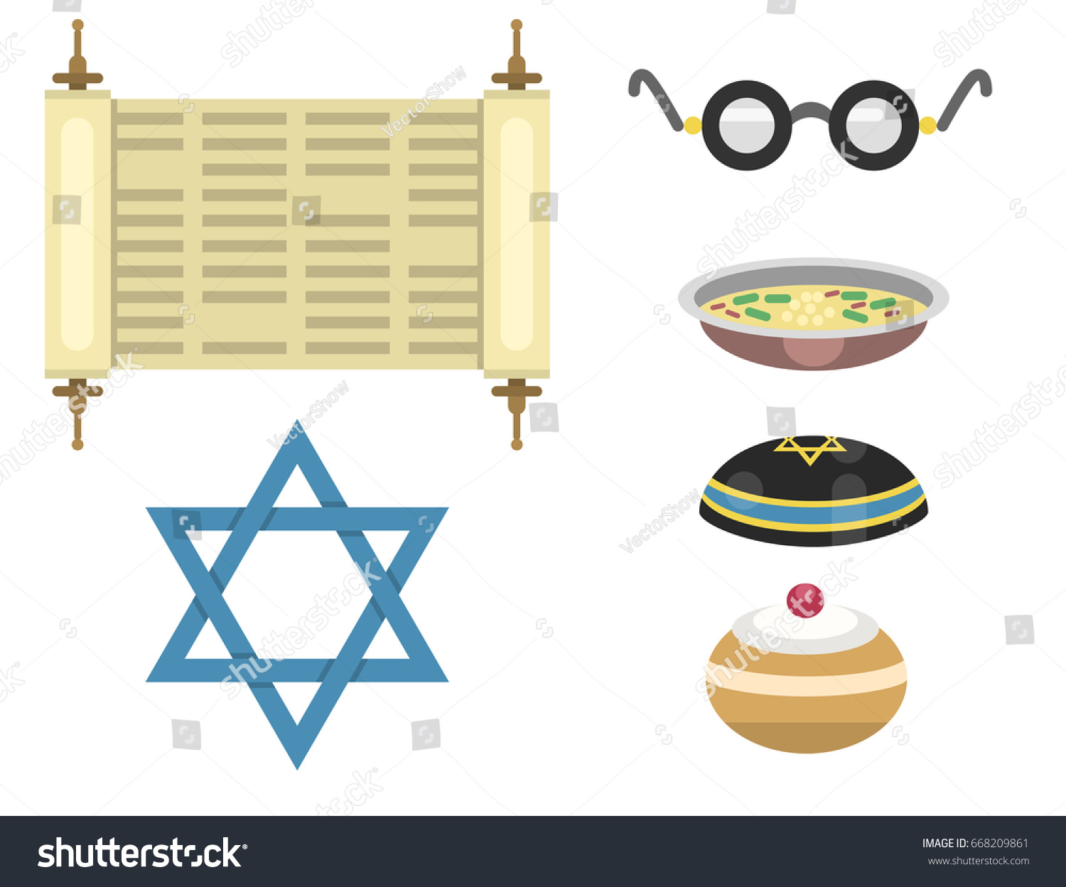 Judaism church traditional symbols isolated hanukkah stock vector judaism church traditional symbols isolated hanukkah religious synagogue passover hebrew jew vector illustration biocorpaavc Gallery