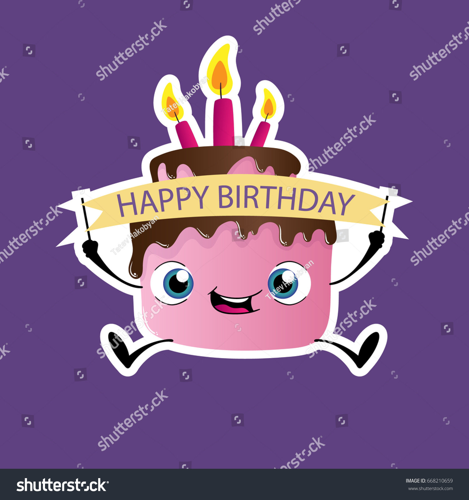 Fabulous Happy Birthday Cake Clipart Stock Vector Royalty Free 668210659 Funny Birthday Cards Online Elaedamsfinfo