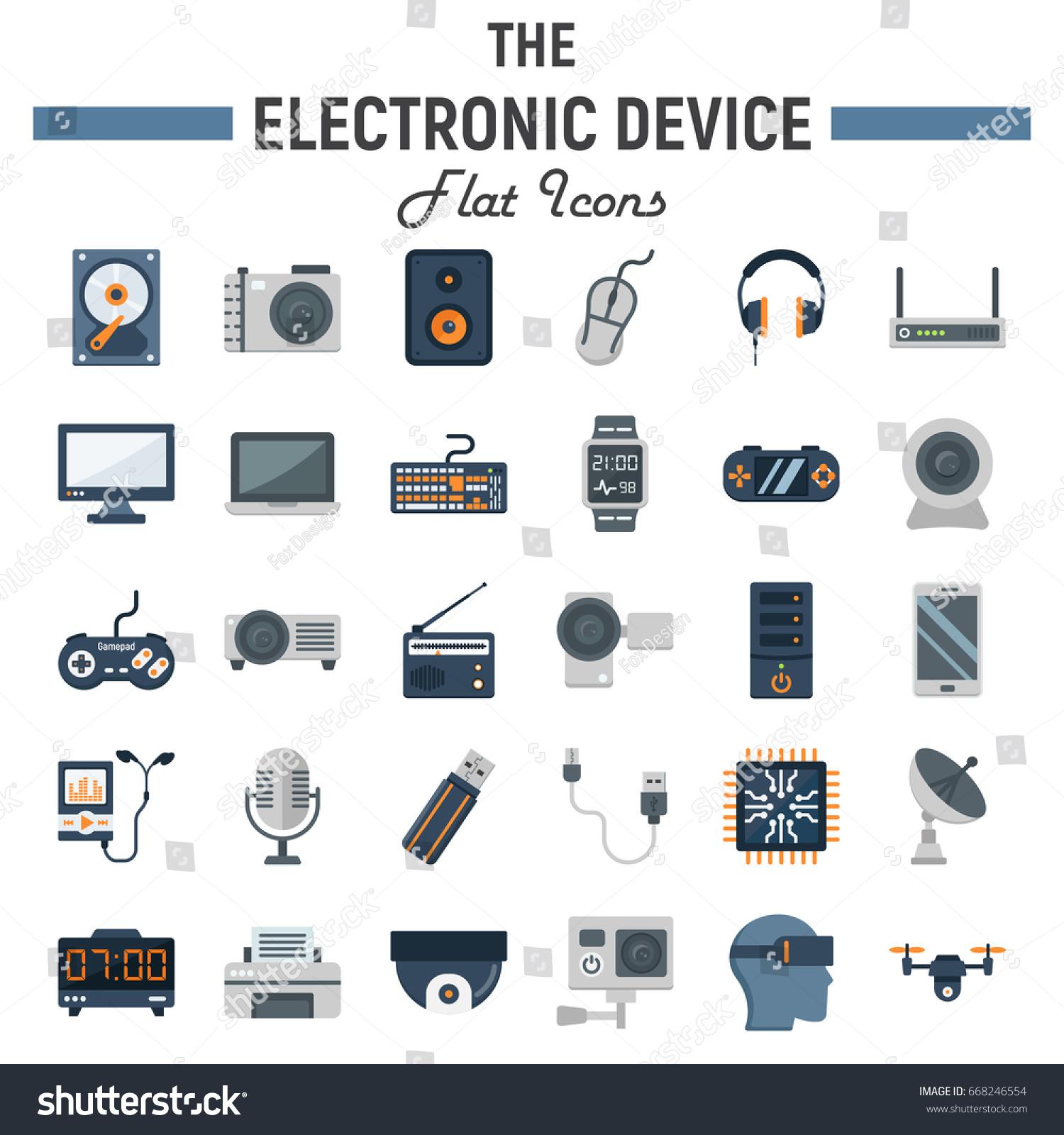 Electronic Device Flat Icon Set Technology Stock Photo (Photo ...