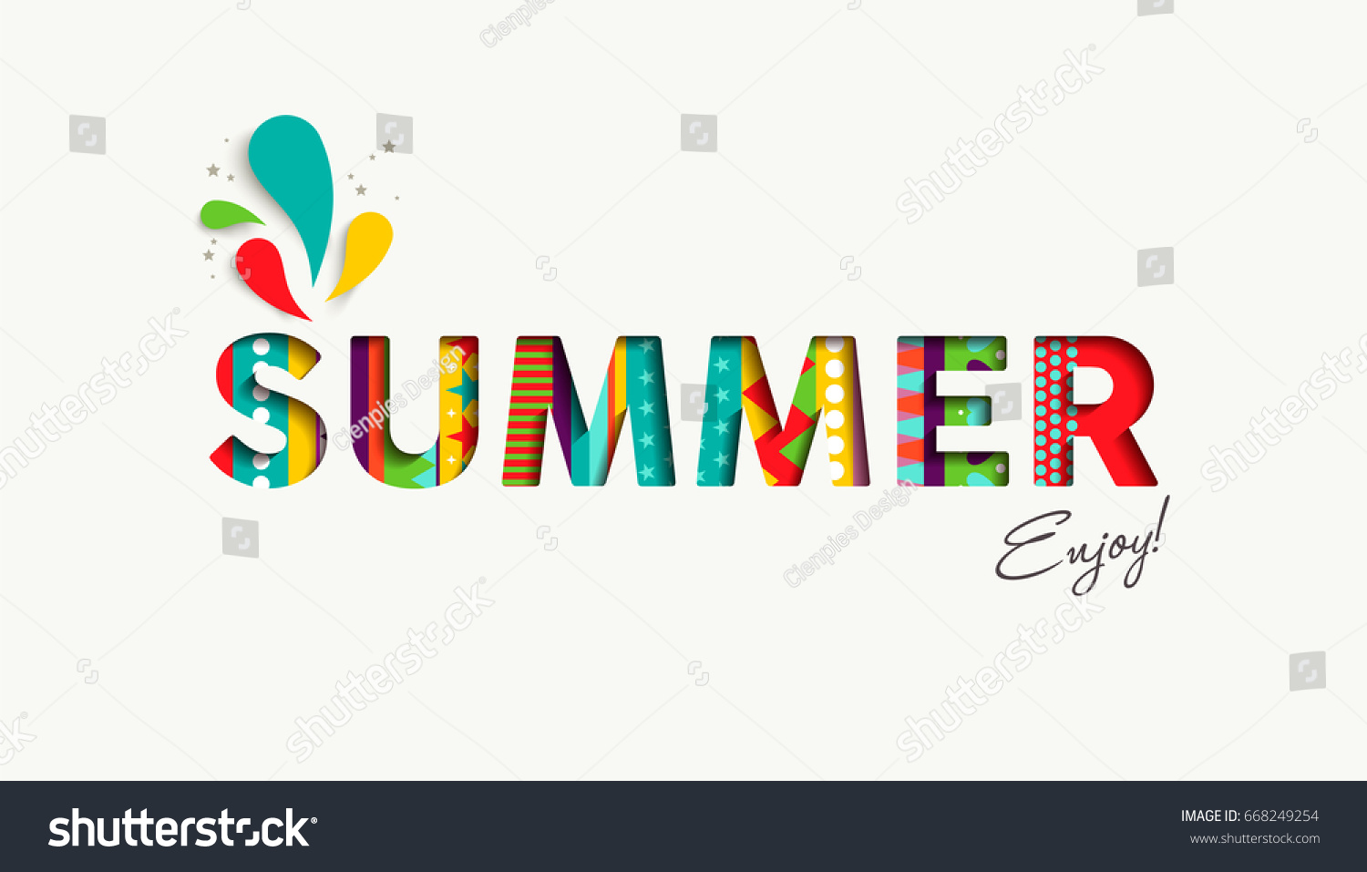 Stock illustration 3d red text quot yes quot stock illustration royalty -  Vectors Illustrations Footage Music Summer 2017 Color Quote Typography Design In 3d Paper Cut Style Fun Season Event