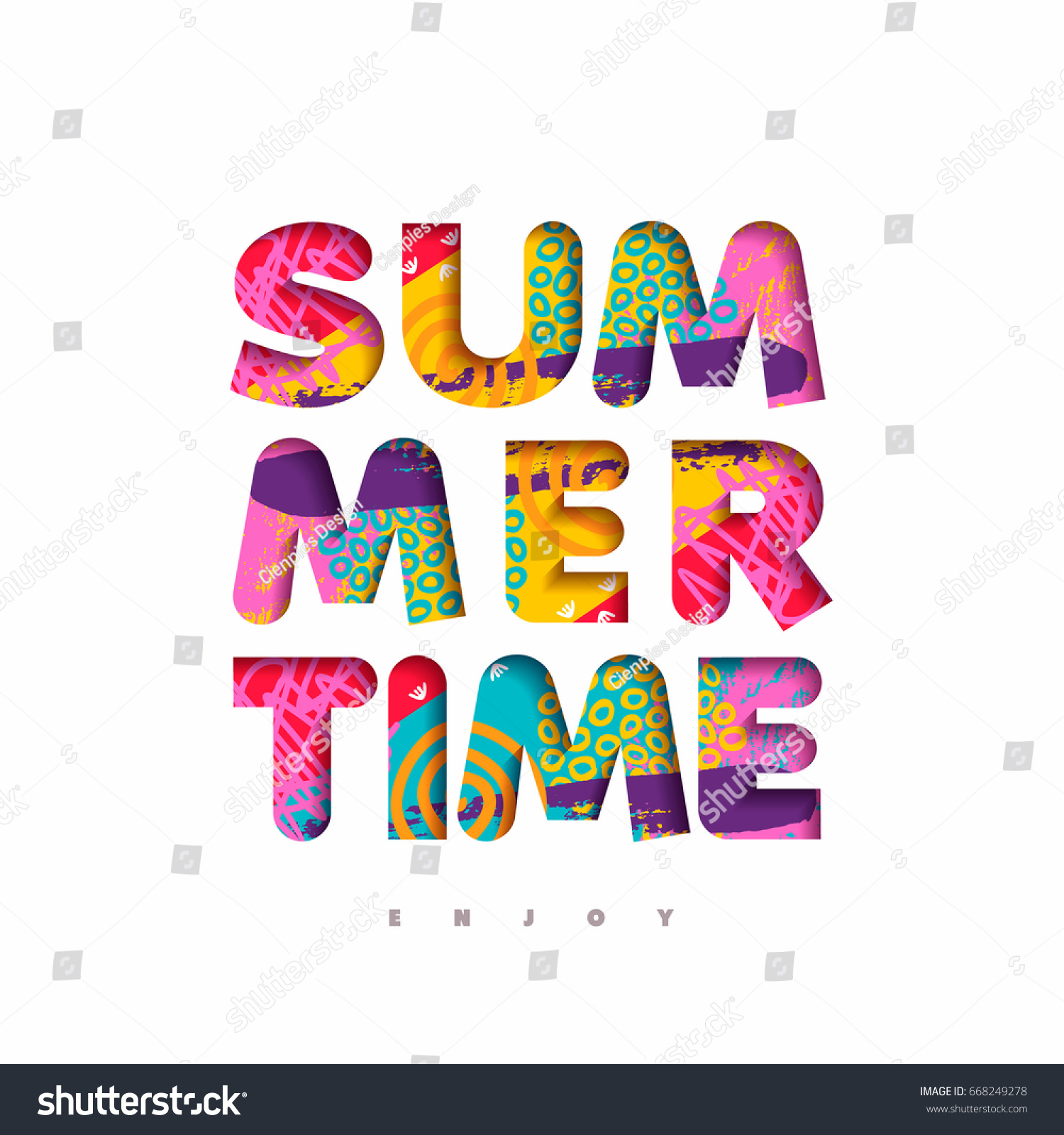 Stock illustration 3d red text quot yes quot stock illustration royalty -  Vectors Illustrations Footage Music Enjoy Summertime Season Vibrant Color Quote Typography Design In 3d Paper Cut Style Fun