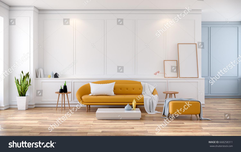 Modern Mid Century Room Interior Yellow Stock Illustration 668258311 ...