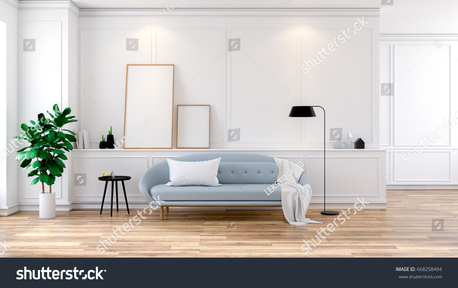 Modern Mid Century Room Interior Gray Stock Illustration 668258494 ...