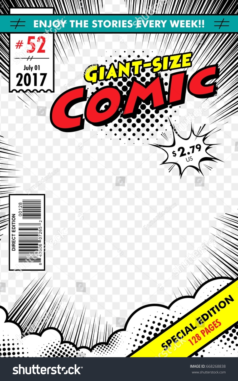 Comic Book Cover Background ~ Comic book cover giant size transparent stock vector