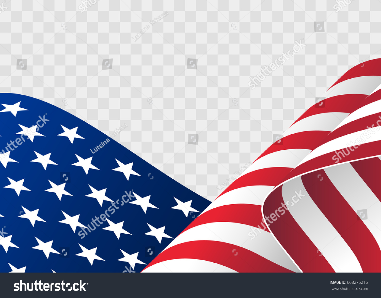 Waving flag of the United States. illustration of wavy American Flag for Independence Day. American flag on transparent background vector illustration. US, USA, banner. #668275216