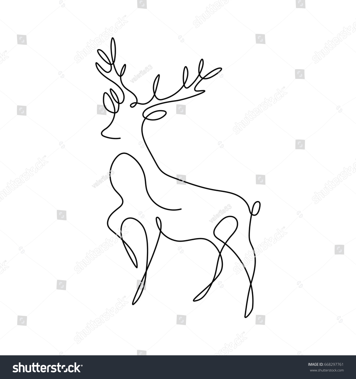 One Line Design : One line design silhouette deerhand drawn stock vector