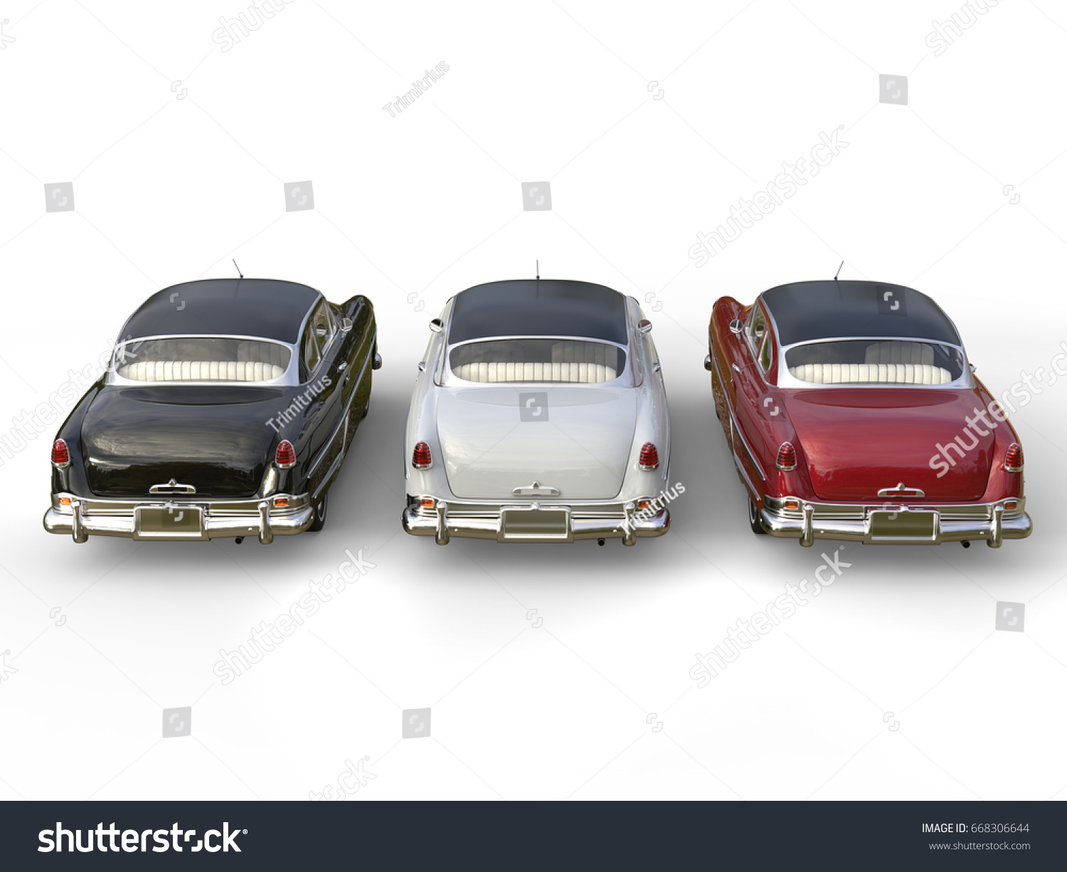 Striking Vintage Cars Black White Cherry Stock Illustration ...