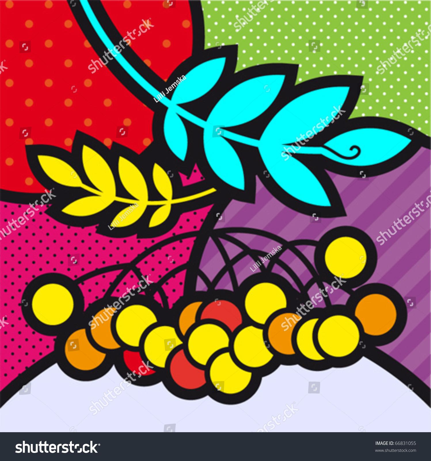 rowan popart fruits vector illustration design stock vector 66831055 shutterstock. Black Bedroom Furniture Sets. Home Design Ideas