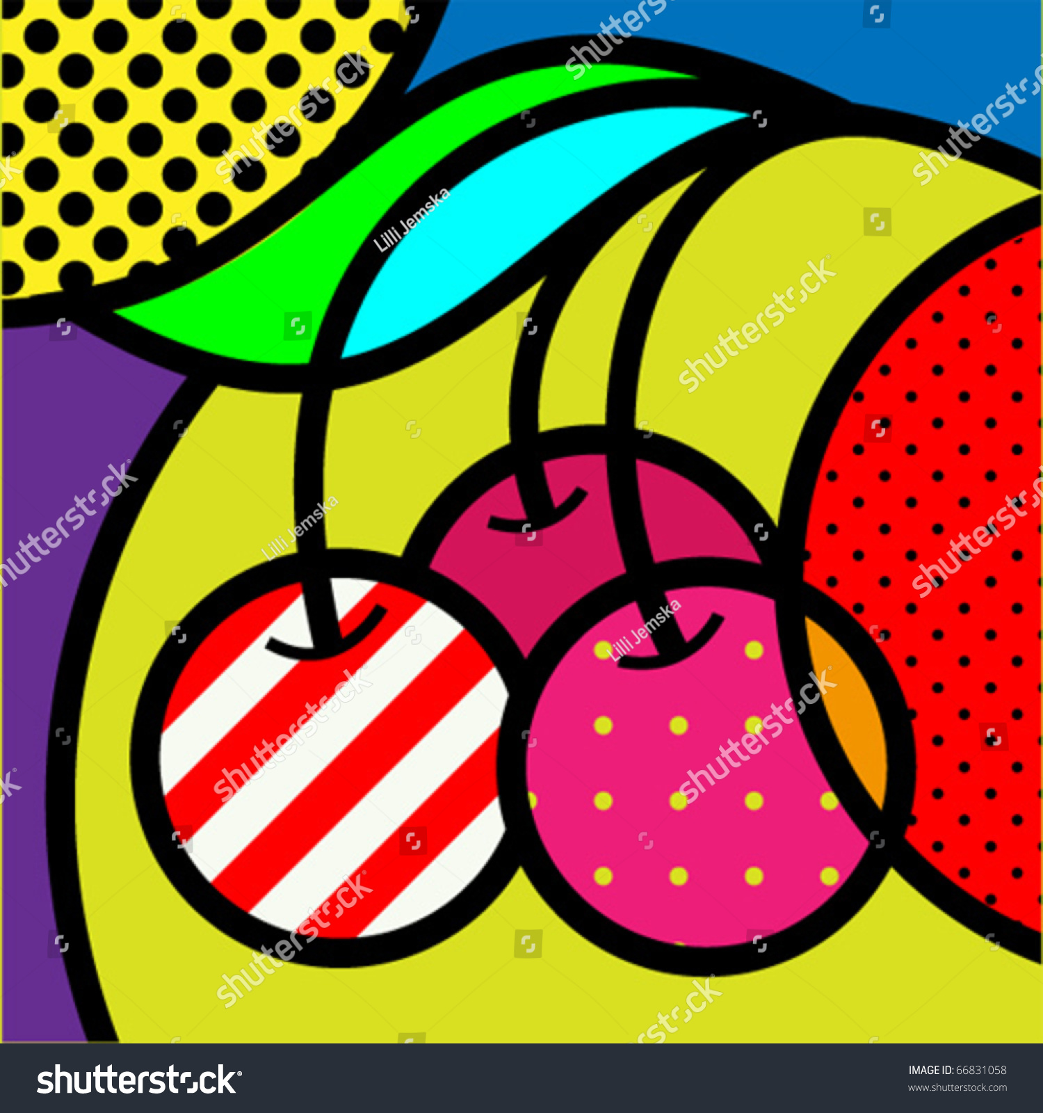Kitchen Design With Breakfast Bar Cherry Popart Fruits Vector Illustration Design Stock