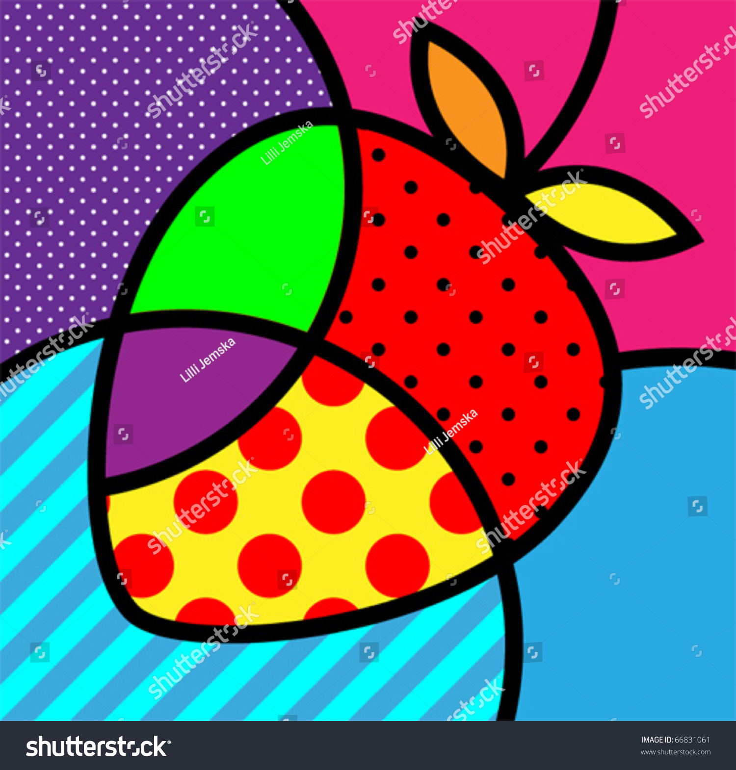 strawberry popart fruits vector illustration design stock vector 66831061 shutterstock. Black Bedroom Furniture Sets. Home Design Ideas
