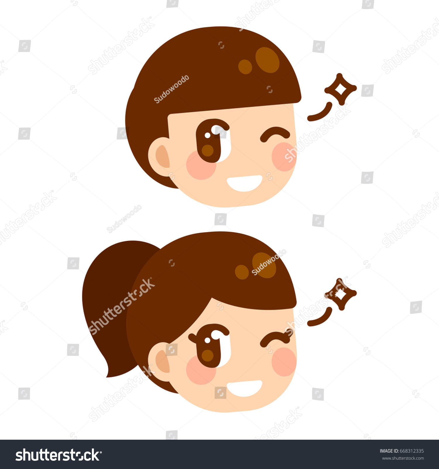 Cute Anime Children Winking Boy And Girl Character Face Manga Style Cartoon Illustration