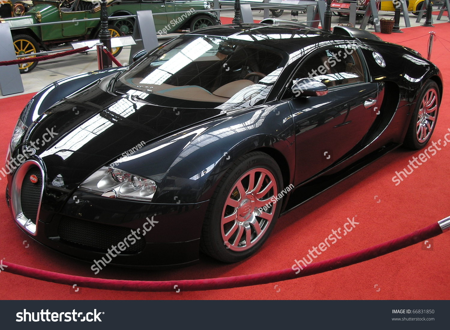 brussels belgium may 10 bugatti veyron stands on red carpet in autoworld museum main passage. Black Bedroom Furniture Sets. Home Design Ideas