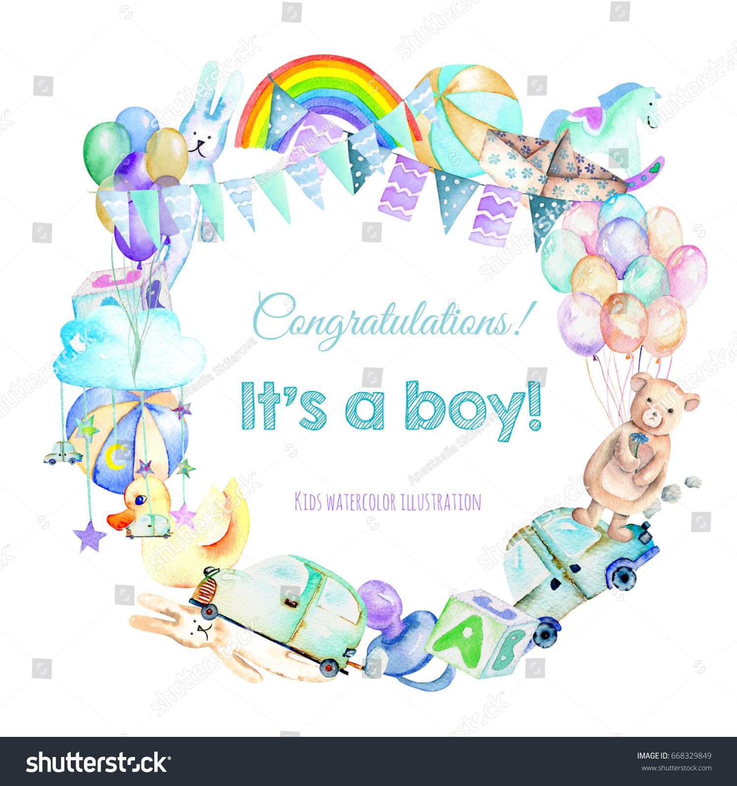 Wreath Frame Border Baby Boy Shower Stock Illustration