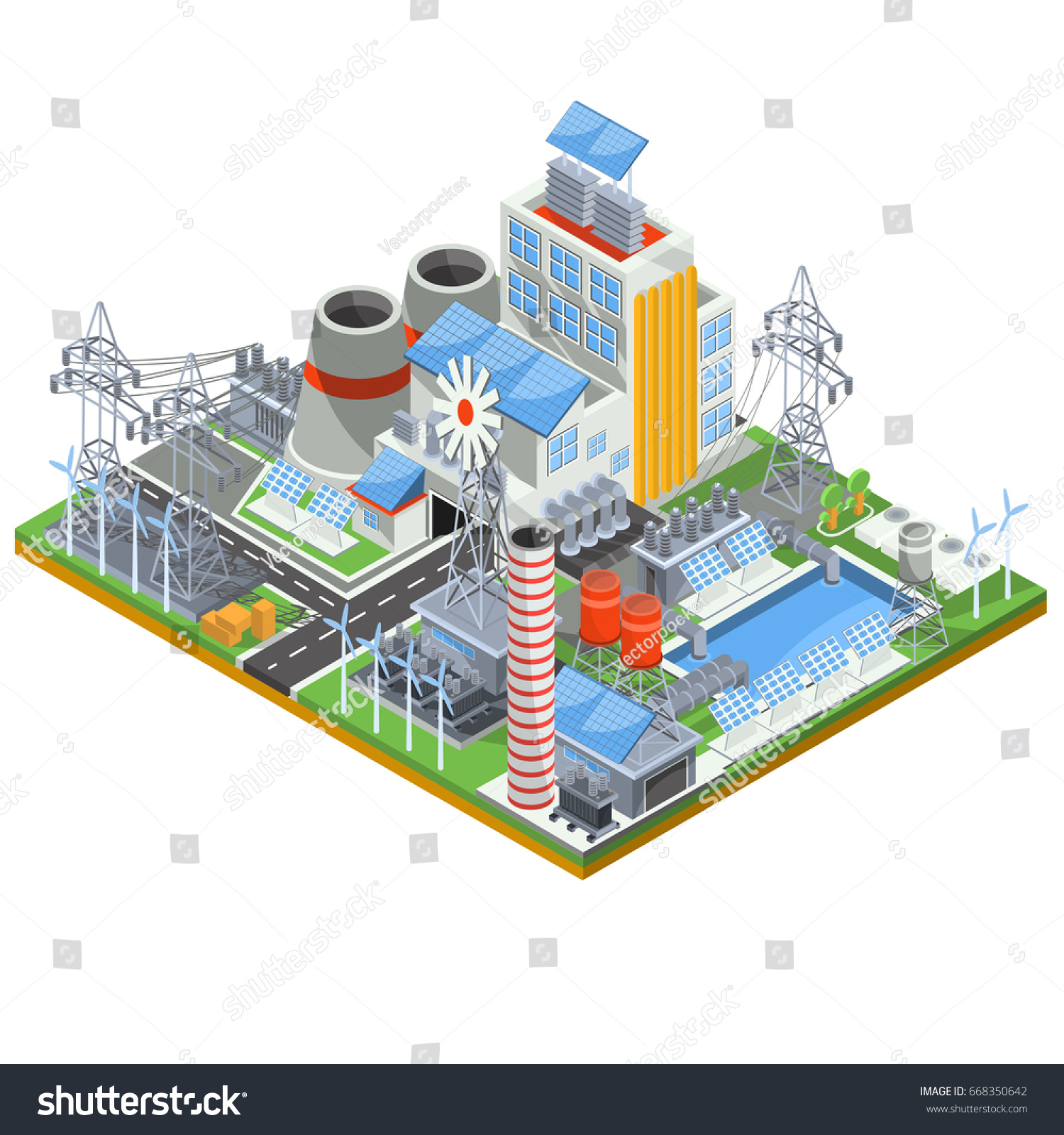 Isometric illustration of a thermal thermal power plant running on  alternative sources of energy. The