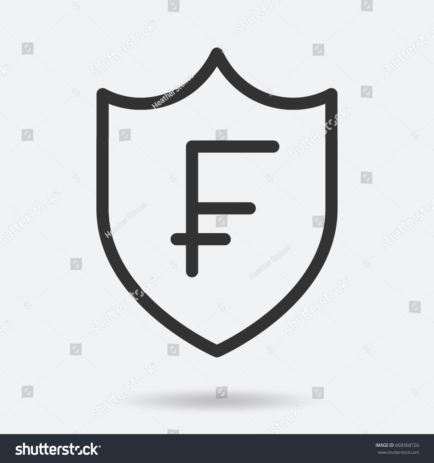 Swiss franc currency symbol shield stock vector 668368726 shutterstock swiss franc currency symbol in a shield buycottarizona Images